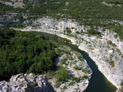 gorges of the river ardeche in southern france - stock photo