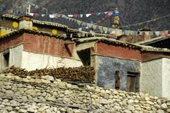 Girl stands on the wall of monastery tashi gompa phu nar-phu annapurna region Stock Photos