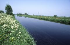 East frisian landscape, westgossefehn channel, lower saxony, germany Stock Photos