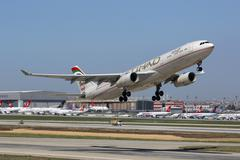 etihad airbus a330-300 istanbul airport - stock photo