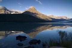 morning reflection of mount chephren in lower waterfowl lake, waputik mountai - stock photo
