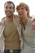 2 young men partying outside Stock Photos