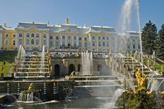 The big palace with the samson fontain peterhof saint peterburg russia Stock Photos