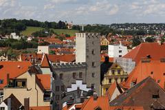 "hotel ""zum goldenen kreuz"", view from the tower of holy trinity church, regen - stock photo"