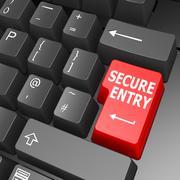 secure entry key on computer keyboard - stock illustration