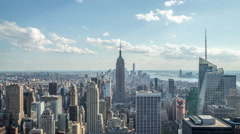 New York City Manhattan buildings skyline time-lapse daytime Stock Footage