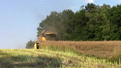 Stock Video Footage of combajn harvested oilseed rape
