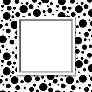 black and white polka dot background with frame - stock illustration