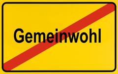 german city limits sign symbolising end of welfare - stock photo
