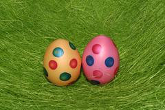 Two painted easter eggs Stock Photos
