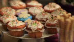 Pan over a sweet section (dessert) of a buffet Stock Footage