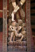 Erotic wood carving on a roof strut of a temple durbar square bhaktapur nepal Stock Photos