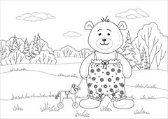 teddy bear with toy horsy, contours - stock illustration