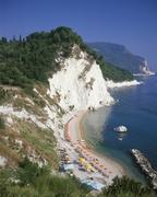 numana, beach and monte conero, marche, adria coast, italy - stock photo