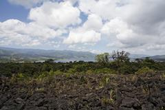 lake arenal, field of lava of 1993, national park arenal, costa rica - stock photo