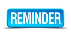 Reminder blue 3d realistic square isolated button Stock Illustration