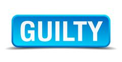 guilty blue 3d realistic square isolated button - stock illustration