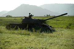 Old russian tank in the field near aksum ethiopia Stock Photos
