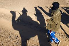 shadow play, tuareg noamd and shadows cast by the dromedaries of a caravan, a - stock photo