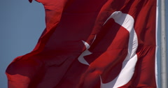 Waving the Turkish flag Stock Footage