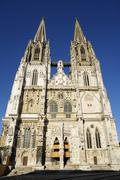 west facade of st. peter cathedral, regensburg, bavaria, germany - stock photo