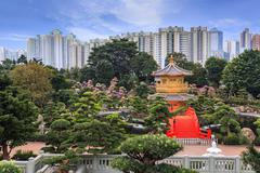 Chinese garden in hong kong Stock Photos