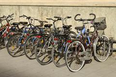 Many bicycles parking in front of the university, munich, bavaria, germany Stock Photos