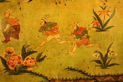 tibetan buddhism naive wall painting running men jokhang lhasa tibet china - stock photo