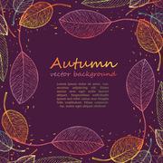 border frame of colorful autumn leaves - stock illustration
