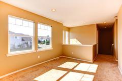 Empty house interior. bright room with windows Stock Photos