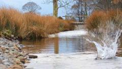 Big Skimming Stone Upstream Bridge Slow Motion (720 50fps) English Countryside Stock Footage