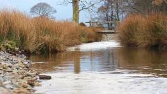 Skimming Stone Upstream Bridge Slow Motion (720 50fps) English Countryside Stock Footage
