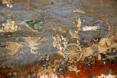 szene of the epic ramayana rama leaves the sea behind in his chariot silver p - stock photo