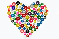 Heart valentines day with colorful of button white isolated background Kuvituskuvat