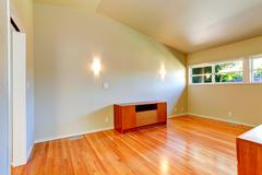 emtpy house interior. small room with vaulted ceiling - stock photo