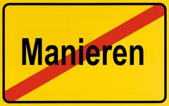 german city limits sign symbolising end of manners - stock photo