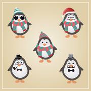 Winter Hipster Penguins Illustration - stock illustration