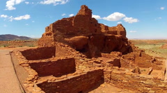 Tilt Pan Of Sinagua Pueblo Ruins- Wupatki National Monument Stock Footage