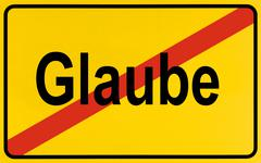 german city limits sign symbolising end of belief - stock photo