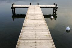 Landing stage, lake of annecy, lac d\'annecy, duingt, haute-savoie france Stock Photos
