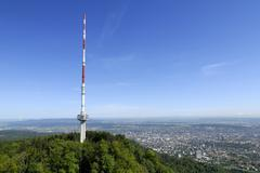 tv-tower from zurich an the panorama from the city - switzerland, europe - stock photo