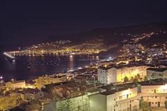 view over small town sesimbra, baia de setubal, costa azul, ribatejo, portuga - stock photo