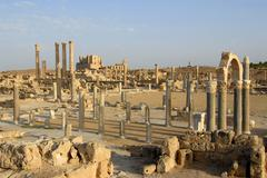 Stock Photo of view of the roman excavation site to the theatre sabratha libya
