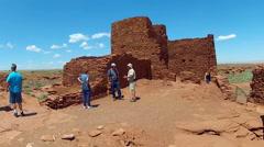Tourists, Park Ranger At Wukoki Pueblo- Wapatki National Monument Stock Footage