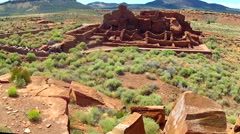 Ultra Wide Pan Wupatki Pueblo Ruins National Monument Stock Footage