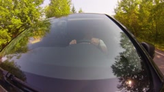 Driving on forest road. Windshield view. Stock Footage