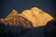 Ice-capped peak of dhaulagiri (8167 m) in the morning sun from larjung annapu Stock Photos