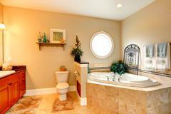 luxury bathroom with whirlpool - stock photo