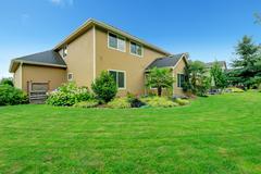 beautiful backyard landscape - stock photo