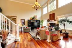 Living room interior in luxury house Stock Photos
